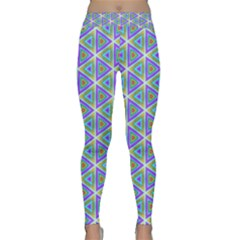 Colorful Retro Geometric Pattern Yoga Leggings  by DanaeStudio