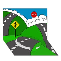 Hit The Road Circle Bottom 3d Greeting Card (7x5) by Valentinaart