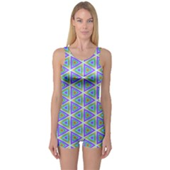 Colorful Retro Geometric Pattern One Piece Boyleg Swimsuit by DanaeStudio
