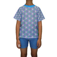 Colorful Retro Geometric Pattern Kids  Short Sleeve Swimwear by DanaeStudio