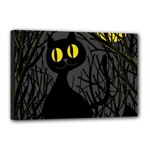 Black Cat   Halloween Canvas 18  X 12  by Valentinaart