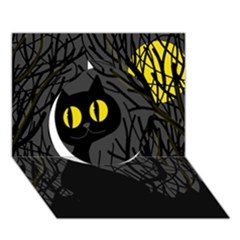 Black Cat   Halloween Circle 3d Greeting Card (7x5) by Valentinaart