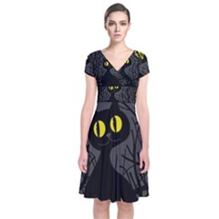 Black Cat   Halloween Short Sleeve Front Wrap Dress by Valentinaart