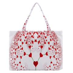 Heart Plant Fractal Tree Medium Zipper Tote Bag by Zeze
