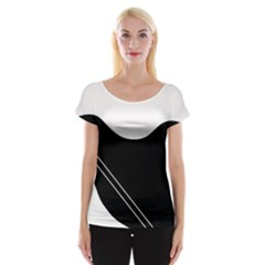 White And Black Abstraction Women s Cap Sleeve Top by Valentinaart