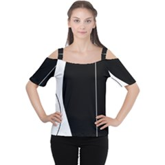 White And Black 2 Women s Cutout Shoulder Tee by Valentinaart