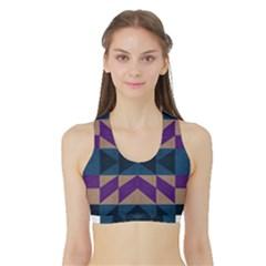 Aztec Fabric Textile Design Navy Women s Reversible Sports Bra with Border by Zeze
