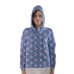 Colorful Retro Geometric Pattern Hooded Wind Breaker (women) by DanaeStudio