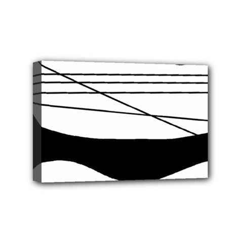 White And Black Waves Mini Canvas 6  X 4  by Valentinaart