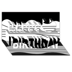White And Black Waves Happy Birthday 3d Greeting Card (8x4) by Valentinaart