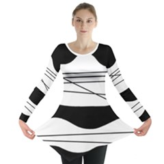 White And Black Waves Long Sleeve Tunic  by Valentinaart