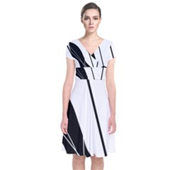 White And Black  Short Sleeve Front Wrap Dress by Valentinaart