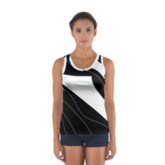 White And Black Decorative Design Women s Sport Tank Top  by Valentinaart