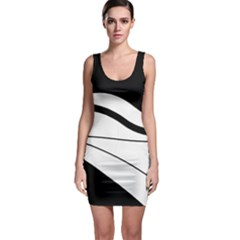 White And Black Harmony Sleeveless Bodycon Dress by Valentinaart