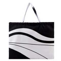 White And Black Harmony Zipper Large Tote Bag by Valentinaart