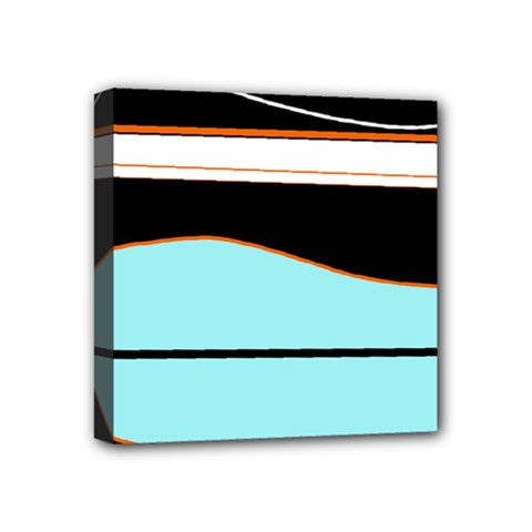 Cyan, Black And White Waves Mini Canvas 4  X 4  by Valentinaart