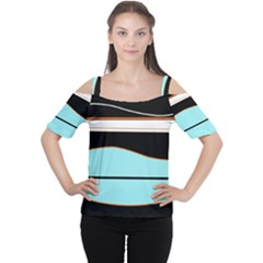 Cyan, Black And White Waves Women s Cutout Shoulder Tee by Valentinaart