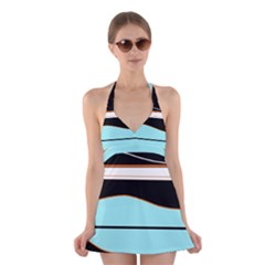 Cyan, Black And White Waves Halter Swimsuit Dress by Valentinaart