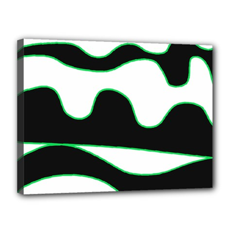 Green, White And Black Canvas 16  X 12  by Valentinaart
