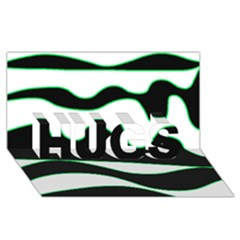 Green, White And Black Hugs 3d Greeting Card (8x4)
