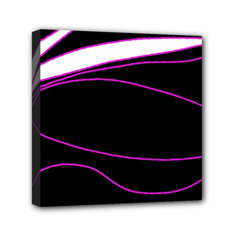 Purple, White And Black Lines Mini Canvas 6  X 6  by Valentinaart