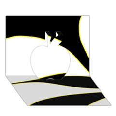 Yellow, Black And White Apple 3d Greeting Card (7x5)
