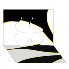 Yellow, black and white Clover 3D Greeting Card (7x5) by Valentinaart