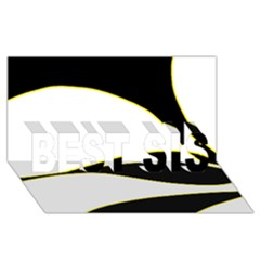 Yellow, Black And White Best Sis 3d Greeting Card (8x4)