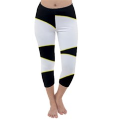 Yellow, Black And White Capri Winter Leggings  by Valentinaart