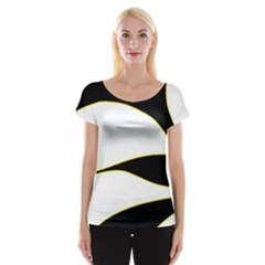 Yellow, Black And White Women s Cap Sleeve Top by Valentinaart