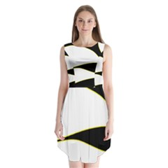 Yellow, Black And White Sleeveless Chiffon Dress