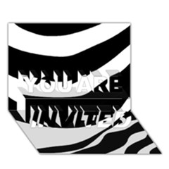 White or black YOU ARE INVITED 3D Greeting Card (7x5) by Valentinaart