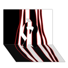 White, Red And Black Lines Ribbon 3d Greeting Card (7x5)