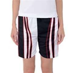 White, red and black lines Women s Basketball Shorts by Valentinaart