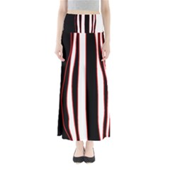 White, red and black lines Maxi Skirts by Valentinaart
