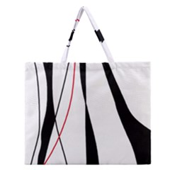 Red, White And Black Elegant Design Zipper Large Tote Bag by Valentinaart