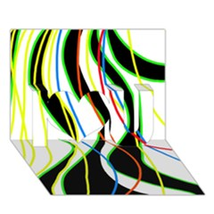 Colorful Lines   Abstract Art I Love You 3d Greeting Card (7x5)