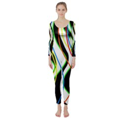 Colorful Lines   Abstract Art Long Sleeve Catsuit by Valentinaart
