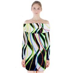 Colorful Lines   Abstract Art Long Sleeve Off Shoulder Dress