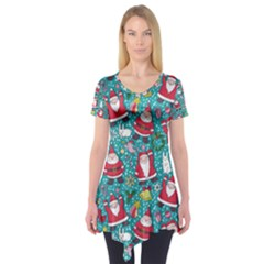 Cute Christmas Seamless Pattern Vector Short Sleeve Tunic  by Zeze