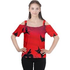Halloween Landscape Women s Cutout Shoulder Tee by Valentinaart