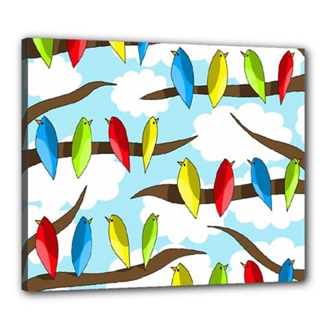 Parrots Flock Canvas 24  X 20  by Valentinaart
