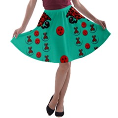 Dancing In Polka Dots A Line Skater Skirt by pepitasart