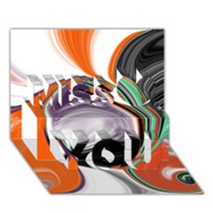 Abstract Orb In Orange, Purple, Green, And Black Miss You 3d Greeting Card (7x5) by theunrulyartist