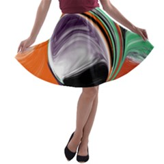 Abstract Orb In Orange, Purple, Green, And Black A Line Skater Skirt