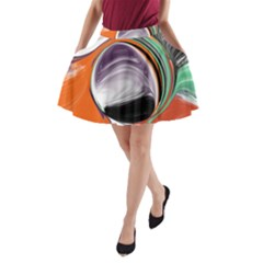 Abstract Orb In Orange, Purple, Green, And Black A Line Pocket Skirt by theunrulyartist