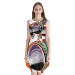 Abstract Orb In Orange, Purple, Green, And Black Sleeveless Chiffon Dress   by theunrulyartist