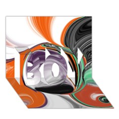 Abstract Orb In Orange, Purple, Green, And Black Boy 3d Greeting Card (7x5) by theunrulyartist