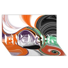 Abstract Orb In Orange, Purple, Green, And Black Engaged 3d Greeting Card (8x4) by digitaldivadesigns