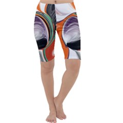 Abstract Orb In Orange, Purple, Green, And Black Cropped Leggings